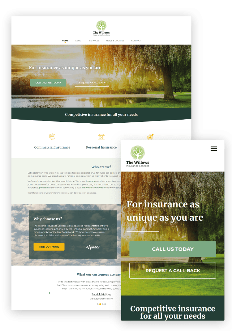 The Willows Insurance Services WordPress Website Design