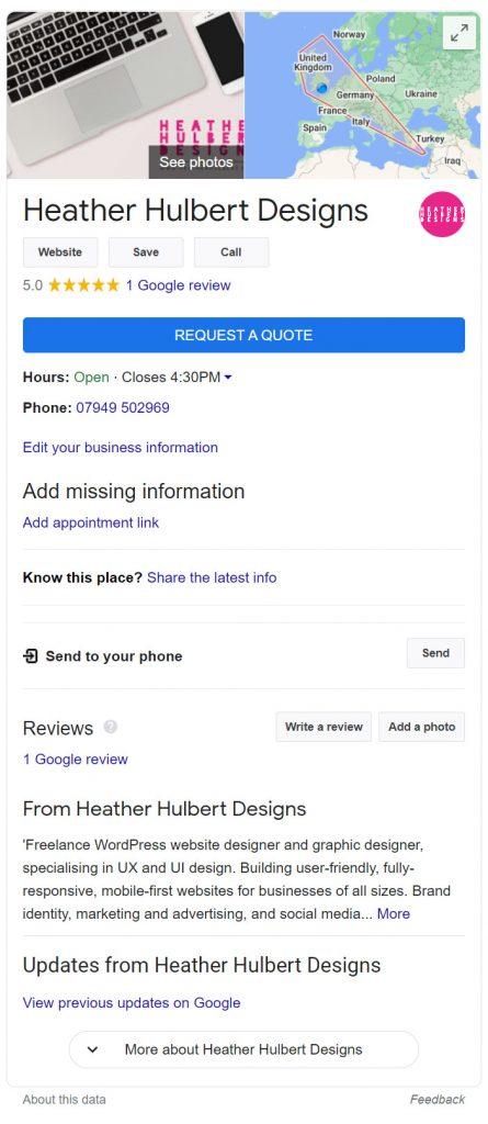 Google My Business Listing - Heather Hulbert Designs