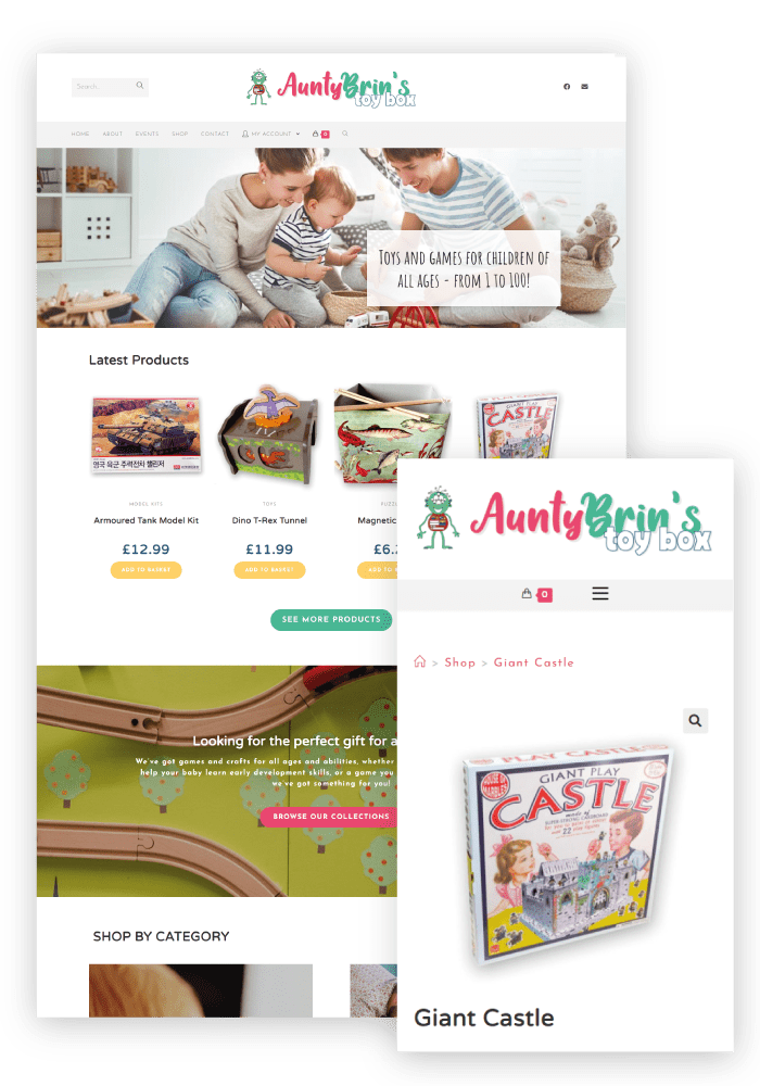 Aunty Brin's Toy Box Client WordPress Website Design